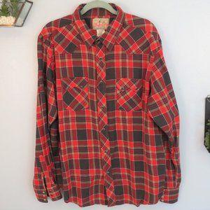 Wrangler Red Plaid Western Flannel Shirt XL
